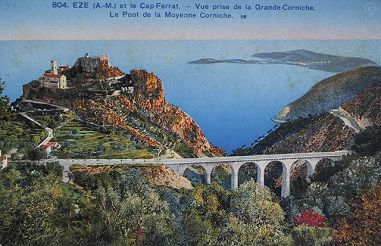Historic view of Eze & Cap Ferrat Copyright Info-Riviera.co.uk