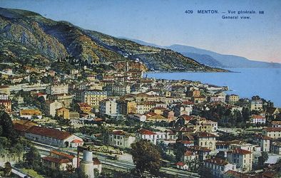 old postcard view of Menton Copyright Info-Riviera.co.uk